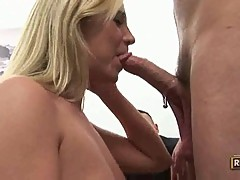 Slutty bitch Trinity wraps her lips round a huge cock