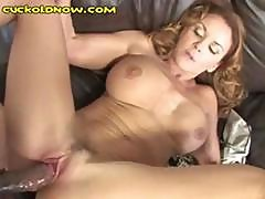 Red-haired Mature Bitch Gets Fucked By A Black Man And White Dude Eats The Cum Off Her