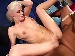Skinny girl goes black as hubby watches