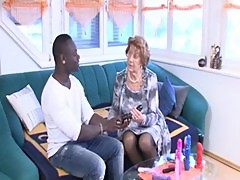 German granny takes it hard by a young black guy