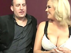 Busty fetish blonde sucks on cock