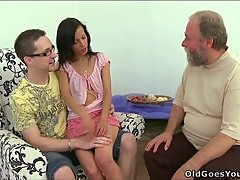 Horny old man fucking Tonia from behind and loving it