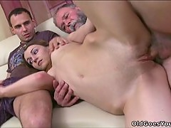 Small tit Nina in hot mature threesome right here