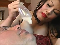 Mistress cucks man and pours cum on his face