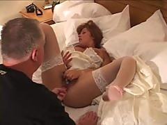 His sexy bride fucked in the pussy by black cocks