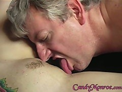 Nasty Candy Monroe gets this cuckold to clean her out