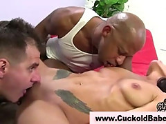 Nasty cuckold brunette gets fucked
