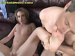 Brunette Takes A Black Cock And Her Boyfriend Can Only Suck Her Toes